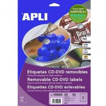 ETIQUETA CD-DVD ?117/?18 MM. BLANCO 25 HOJAS A4 50 UNIDADES ADHESIVO PERMANENTE APLI