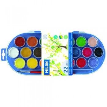 Acuarela 22 pastillas 30mm colores surtidos con pincel Milan