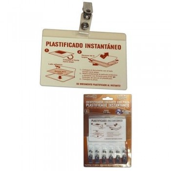 FUNDA PLASTIFICADO INSTANTANEO IDENTIFICADOR CON PINZA 74X104 MM.- BLISTER CON 6 OFFICE BOX