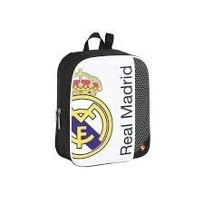 Mochila Infantil Adaptable Carro.  REAL MADRID BLANCO .Medidas: 27X33X10 Cm