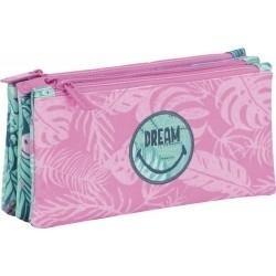 Estuche portatodo 3 bolsillos independientes : Smiley Dream MEDIDAS (cm)23X11X5: REF. 573054