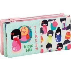 Estuche portatodo 3 bolsillos independientes TOKIO GIRL MEDIDAS EN CM:23X11X4 REF 269087