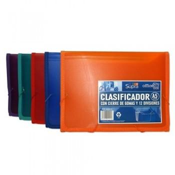 CLASIFICADOR A5 CON GOMAS 12 DIVISIONES SUPRA OFFICE BOX