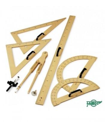 regla de 100cm, semicirculo de 34cm, escuadra de 50cm, cartabon de plastico de 50cm y compas de 42cm.