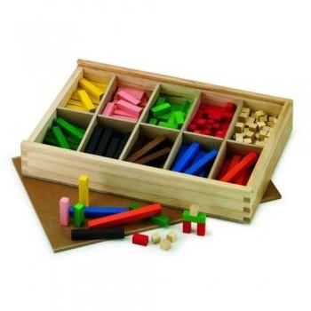 Regletas 1x1 de madera coloreada, para iniciarse en las mátemáticas más básicas