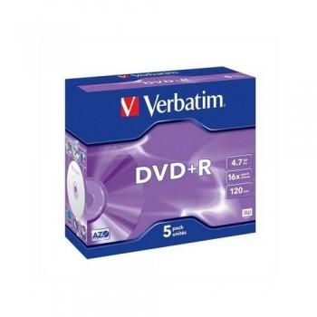 DVD +R 4.7GB 16X JEWEL CASE 5 UN. VERBATIM