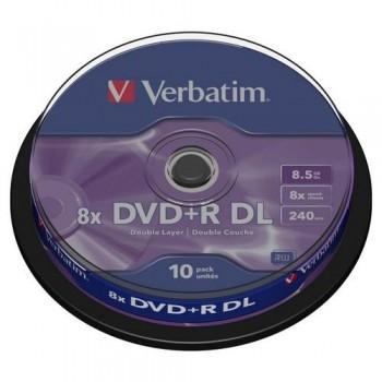 DVD +R DOBLE CAPA 8.5GB 8X BOBINA 10 ADVANCED AZO VERBATIM