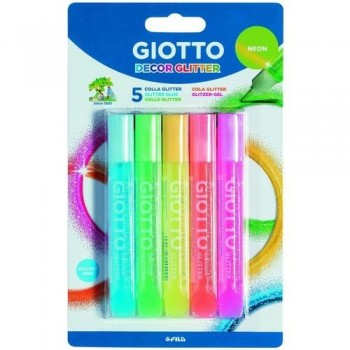 PEGAMENTO PURPURINA NEON 10,5 ML. ESTUCHE 5 COLORES GIOTTO NEON GLITTER GLUE