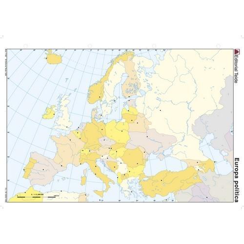 MAPA MUDO COLOR A4 POLÍTICO EUROPA