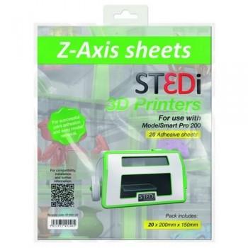 HOJAS LIMPIEZA PARA IMPRESORA 3D ST3DI Z-AXIS SHEETS PRO 200 20 HOJAS 200MMX150MM