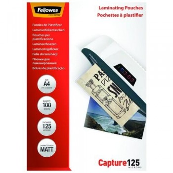 FUNDA PLASTIFICAR A4 125 MICRAS MATE 100 UN. FELLOWES