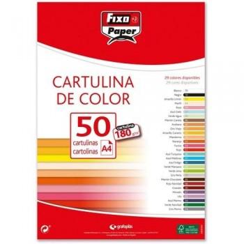 CARTULINA A4 180GR. VERDE LIMA PAQ. 50 HOJAS FIXO