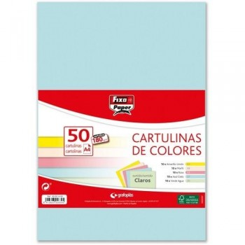 CARTULINA A4 180GR. COLORES STDOS. CLAROS PAQ. 50 HOJAS FIXO