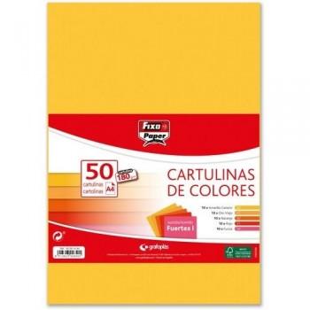 CARTULINA A4 180GR. COLORES STDOS. FUERTES I PAQ. 50 HOJAS FIXO